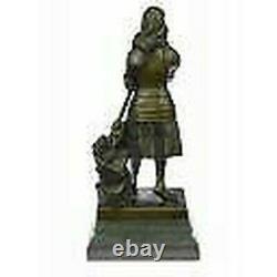 Signed, Saint Joan De Arc Bronze Marble Sculpture Statue Figure