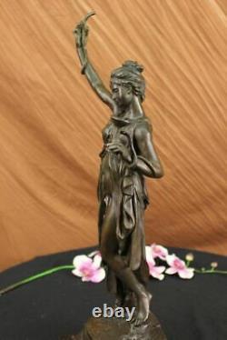 Signed Serpent Charmeur Bronze Marble Sculpture Art Deco Base Figure Decor