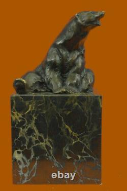 Signed Sitting Polar Bear Bronze Bookends Book End Deco Marble Sculpture
