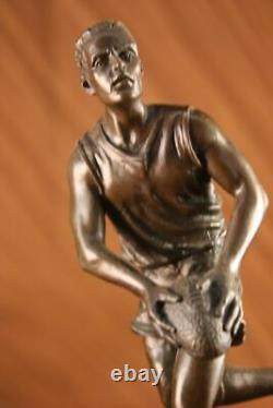 Signed True Bronze On Marble Football NFL Rugby Athlete Figure Decor