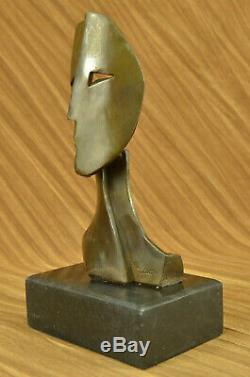 Signed Two Face Cubism Abstract Modern Art Sculpture Marble Base Figurine