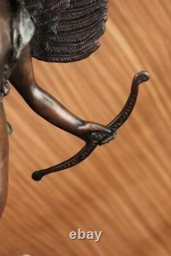 Signed Valentine Day Cupid Bronze Statue On Marble Base Hot Gift
