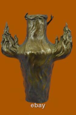 Signed Vintage Flesh Nymph Art Statue Bronze Vase Marble Base Top 13