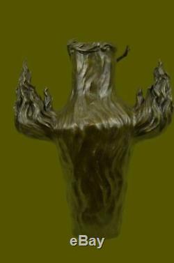 Signed Vintage Flesh Nymph Art Statue Bronze Vase Marble Base Top 13 Lost