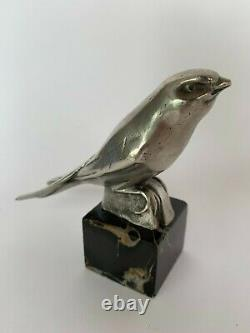 Silver Bronze Bird Sign Jean Et Joel Martel Black Marble Base H3649