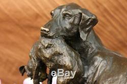 Solid Bronze Cast Statue Golden Retriever Signed Art Deco Marble Decor Deal