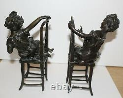 Squeeze-books Small Girls Rare Bronze Chairs Certified Rare Signed Franz