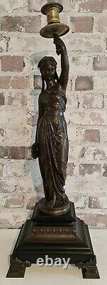 Statue Candelabre Bronze Antique Woman On Marble Signed Bouret XIX E High 60 Cms