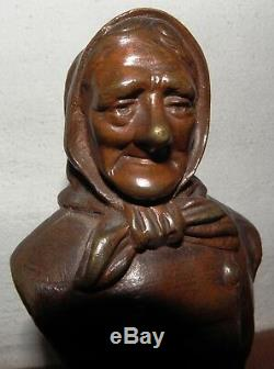 Statues Signed Bronze Old Fisherman XIX S, Base Marble Clipboard # 94