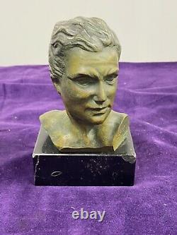 Stunning Male Bust In Bronze On Black Marble Base Signed G Garreau
