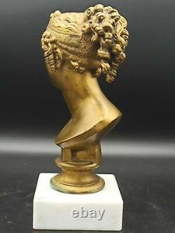 Superb Antique Bronze Bust Signed By F. Barbedienne (1810-1892) On Marble