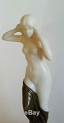 Superb Antique Bronze Marble Statue Nude Signed Schumacher