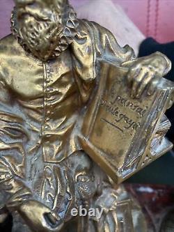 Superb Bronze Embroise Paré Ink Marble Griotte 19 Eme Sign