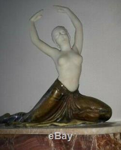 Superb Bronze Sculpture Dancer And Marble In 1930 Signed Rigaud