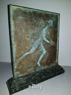 Superb Bronze Signed F. Focht, Rugby, Art Deco, Beautiful Patina, Bronze On Marble