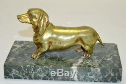 Superb Clipboard Dog Dachshund Bronze Marble Base Period End Nineteenth