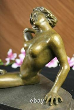 Superb Signed Erotic Chair Bronze Statue Marble Sculpture Hot Figure Fonte
