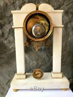 Time Portico Clock Signed Laguefse Empire Paris In White Marble Ormolu