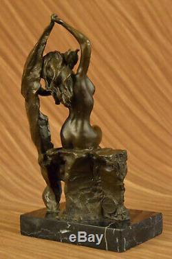 Top Signed Aldo Vitaleh Art Deco Bronze Statue Pedestal Marble Flesh Girl