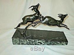 Ugo Cipriani Said Uriano 2 Gazelles Leaping In Regule No Bronze Art Deco