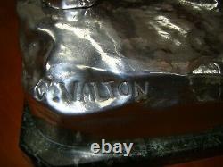 Valton Charles (1851-1918) Injured Lion Silver Bronze & Marble Signed