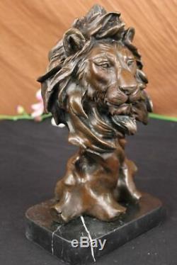 Vintage Brass Or Bronze Lion Head Bust Sculpture Signed, Marble Base Figurine