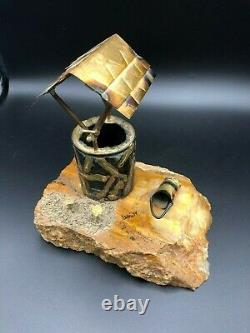 Vintage Mario Jason Bronze Signed Sculpture Onyx- Marble, Wishing Well, 8 Grand