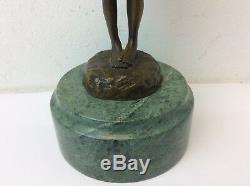 Vintage Signed Bronze Green Marble Base S Buzard Fonte Little Girl Figurine
