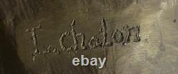 Vintage Signed Chair Nymph Art Statue Bronze Marble Vase Base 13 Top