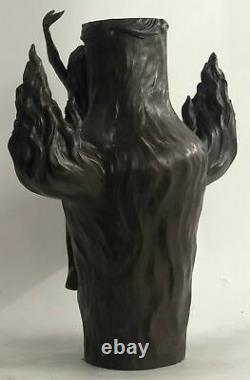 Vintage Signed Chair Nymph Art Statue Bronze Marble Vase Base 13 Top Lost