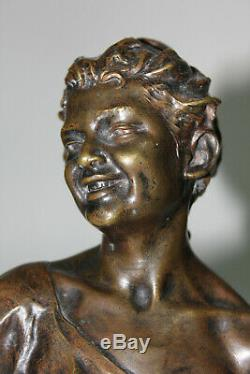 XIX Bronze Bust Laughing Signed Follot Marble Pedestal