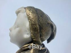 Young Boy Bronze & Marble Statue Sculpture Nineteenth Century Signed Bobbias