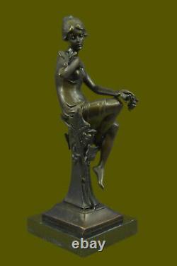 100% Bronze Signé Dame Femme Assis Sur Chaise Oiseau 10 Sculpture Marbre Base