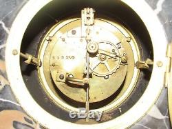 10e18 Ancienne Horloge Marbre Ornements Bronze Fruits Art Déco Signe Reveipolis