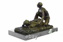 2 Pièces Original Signé La Un Couple Having Sexe Bronze Sculpture Marbre Statue