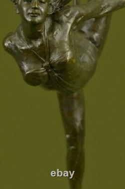 20 Signée Bronze Statue Gymnaste Art Déco Nu Sculpture Sur Marbre Figurine