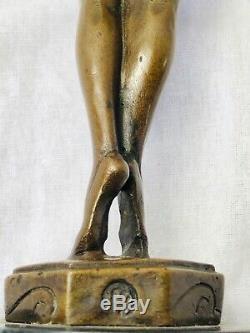 20th Siècle Bronze Sculpture Danse Jeune Ballerine Fille Marbre Base Signé