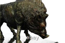8.2kg Signé Art Statue Bronze Marbre Sauvage Sanglier Pig & Chasse Chien Guerre