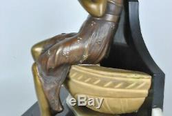 A. Trefoloni, Femme à La Fontaine, Sculpture En Bronze /Marbre Signée, DébXXeme