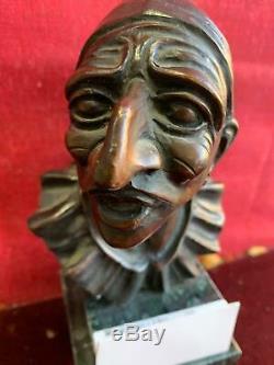A496 Tete De Sculpture En Bronze Base En Marbre Pulcinella