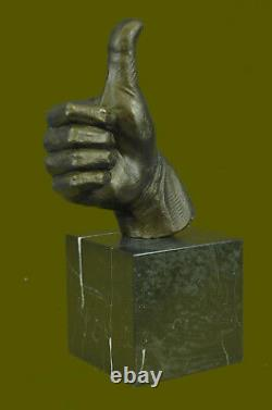 Abstrait Art Moderne Ok Gesture Signe Bronze Sculpture Marbre Base Figurine Déco