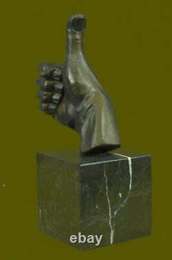 Abstrait Art Moderne Ok Gesture Signe Bronze Sculpture Marbre Base Solde