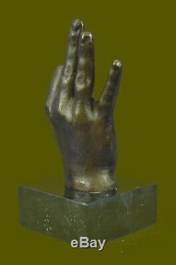 Abstrait Moderne Art Ok Gesture Signe Bronze Sculpture Marbre Socle Figurine