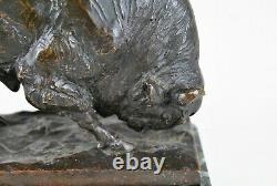 Alb Wille, 2 Bisons En Bronze Et Marbre, Sculptures Signées, Début 20eme Siècle