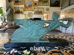 Alberto BAZZONI (1889-1973)Important bronze à patine verte nuancée sur marbre no