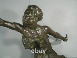 Allegorie Vitesse Buste Mermoz Sculpture Ancienne Bronze Signé Frederic C. Focht