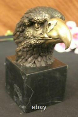 Américain Chauve Patriotique Flying Aigle Signé Artistique Bronze Marbre Statue