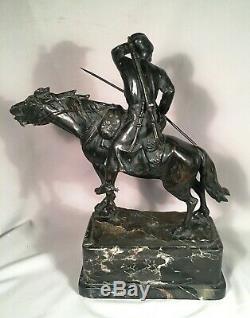 Ancien 19ème Siècle Russe Bronze Cosaque Marbre Base Signé
