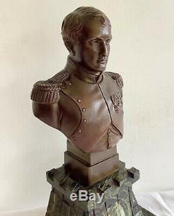 Ancien BUSTE de NAPOLEON 1er en BRONZE Signé sous Épaule Gauche sur Socle Marbre