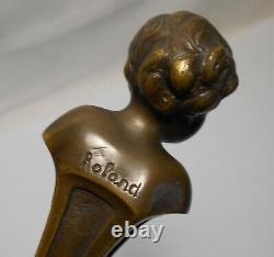 Ancien Sceau Cachet Statue Jeune Femme Bronze Signee Roland Avec Socle Marbre